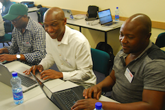 Students working on a lab during the TENET-NSRC Campus Network Design and Operations Workshop held in Cape Town, South Africa