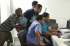 Students working on virtualisation solutions during the PacNOG 21 Virtualisation and Cloud Computing Workshop held in Nuku'alofa, Tonga