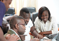 Students in class at the NSRC-GARNET Campus Network Design and Operations workshop held in Accra, Ghana